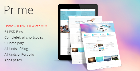 Prime - Multi Purpose PSD Theme  - Preview image