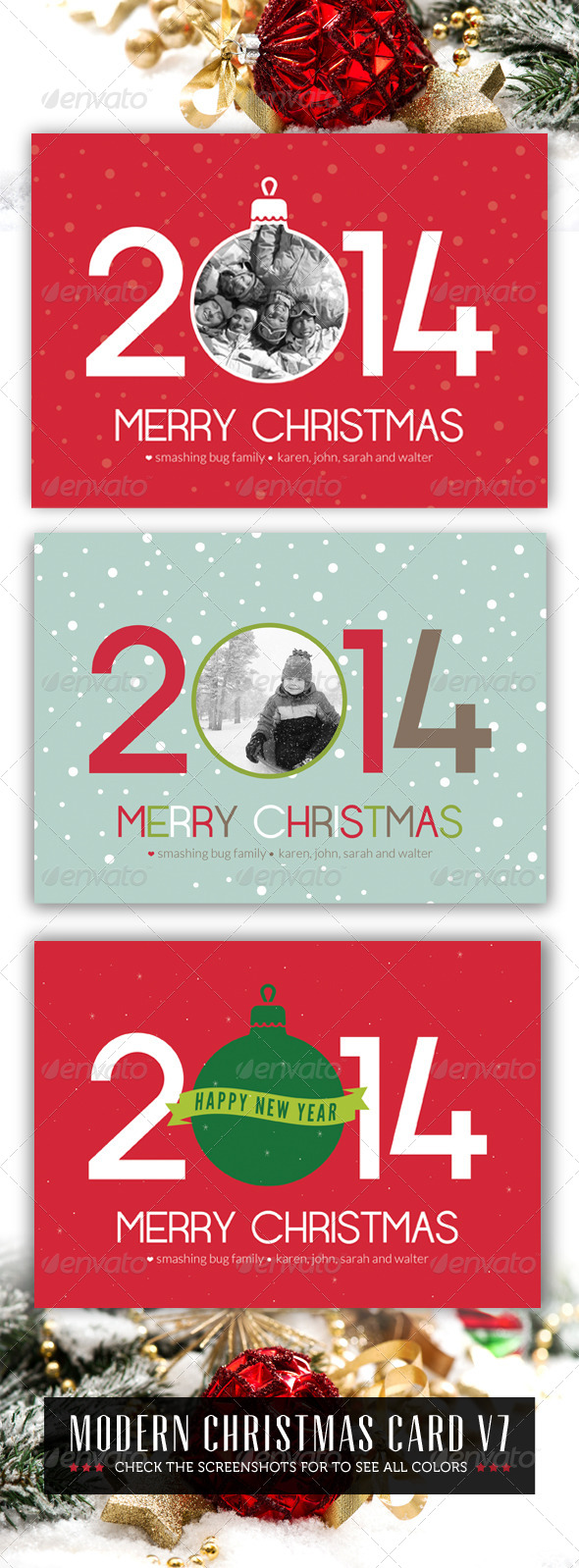 Modern Christmas Card V8 - Holiday Greeting Cards