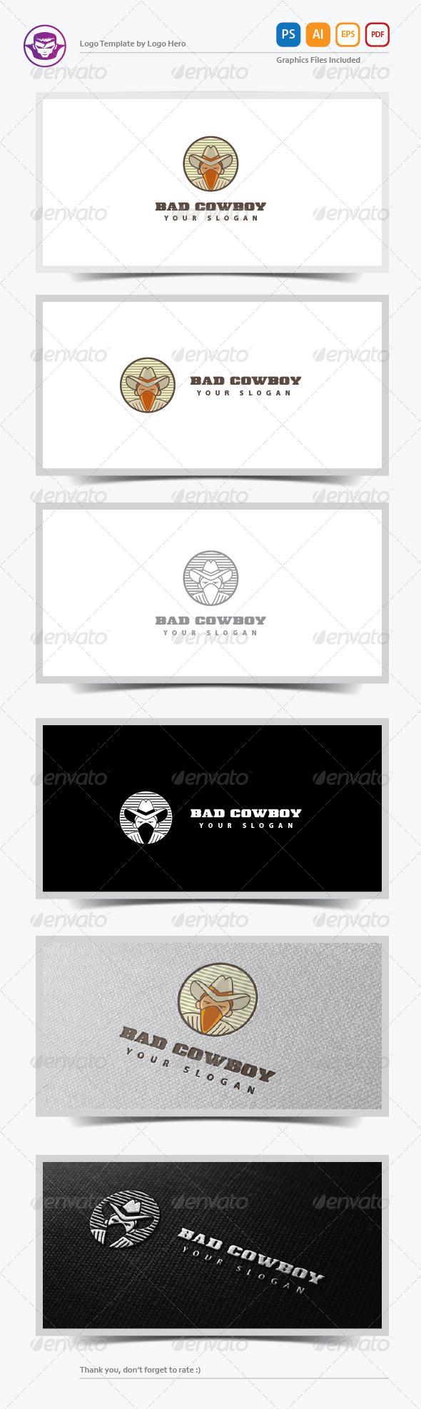 GraphicRiver Bad Cowboy Logo Template 6419036