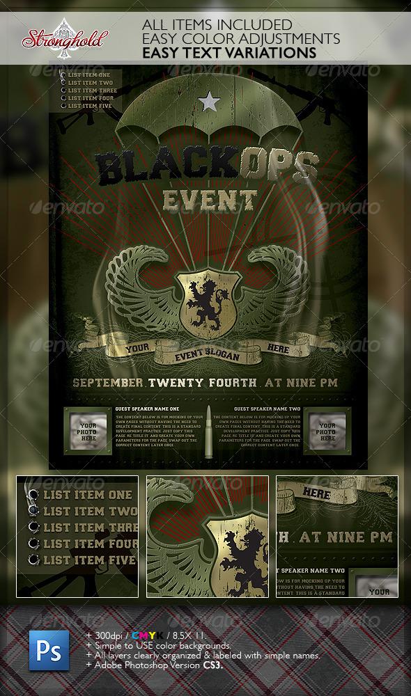 GraphicRiver Vintage Black Ops Military Paratrooper Flyer 6419289