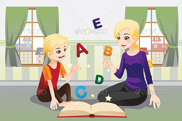 GraphicRiver Mother Teaching her Child 6419438