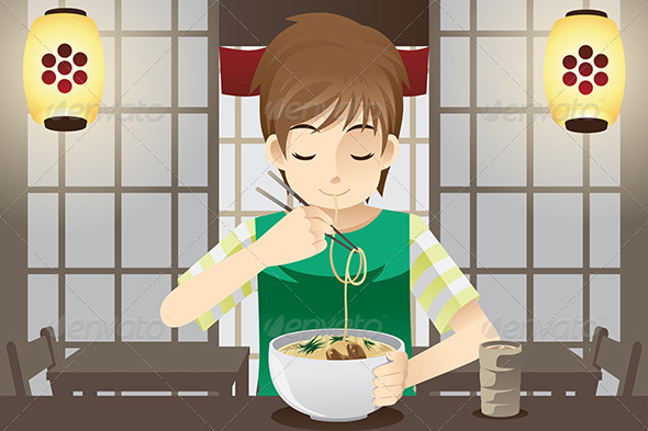GraphicRiver Boy Eating Noodle 6419459