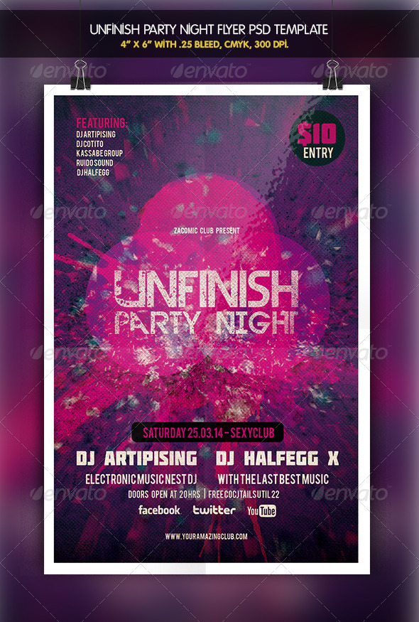 GraphicRiver Unfinish Night Party Flyer 6419490