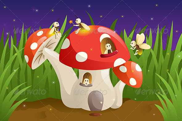 GraphicRiver Mushroom House with Fireflies 6419491