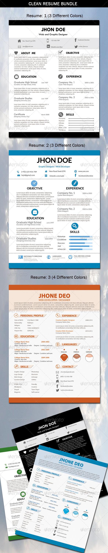 GraphicRiver 3 Set-Clean Resume Bundle 6419494