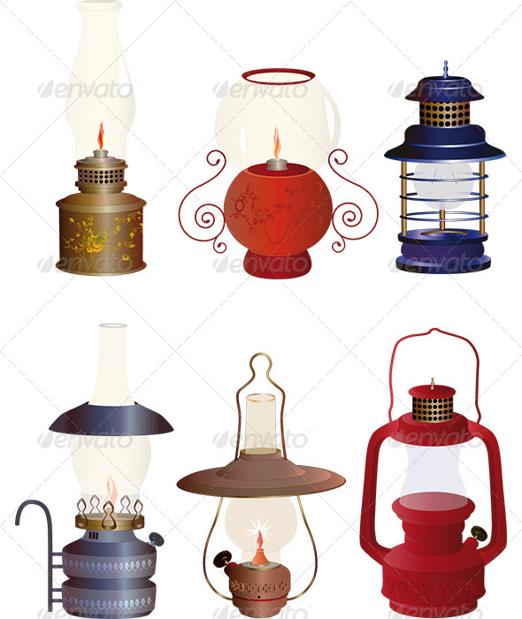 GraphicRiver The Complete Set of Old Oil Lamps 6419496