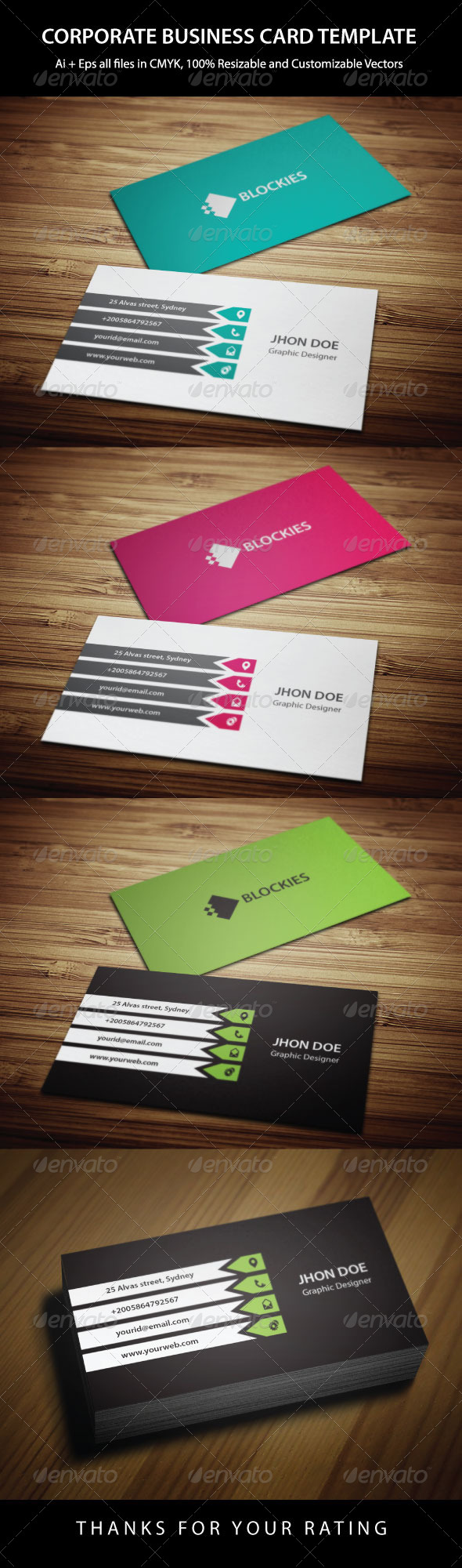 GraphicRiver 3 Colors Corporate Business Card 6419503