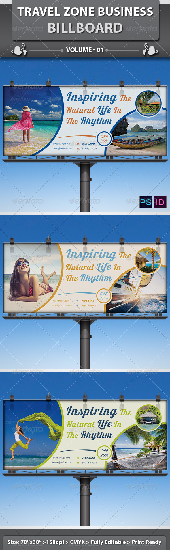 Travel / Tourism Business Billboard | Volume 1 - Signage Print Templates