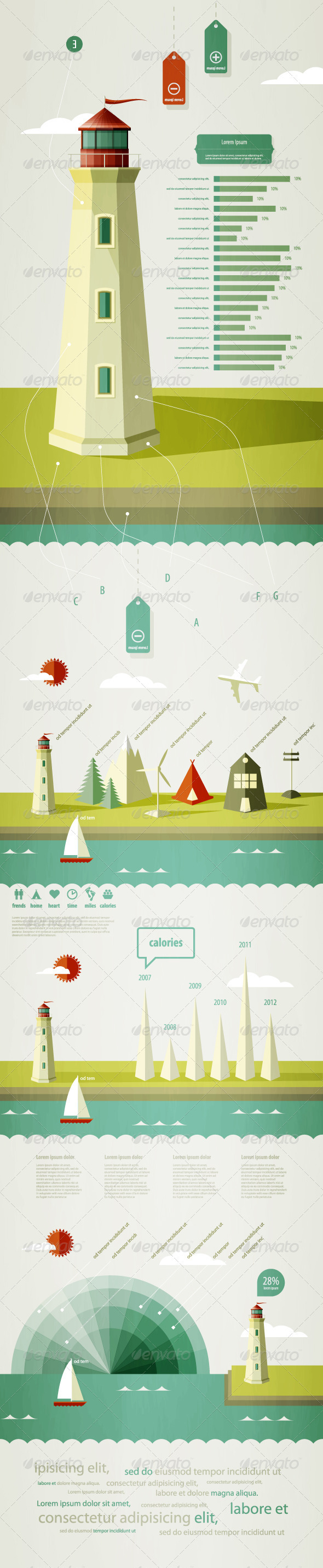 GraphicRiver Infographics elements with a lighthouse 669890