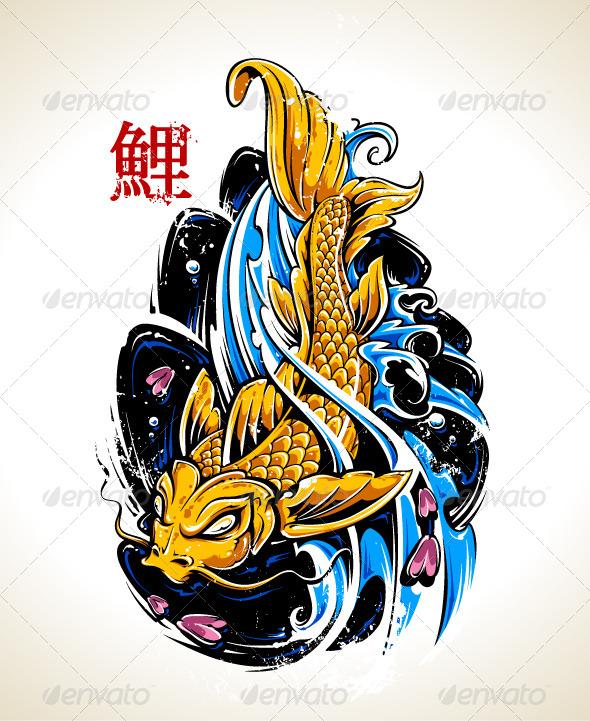 GraphicRiver Vector Koi Fish Tattoo 6420456