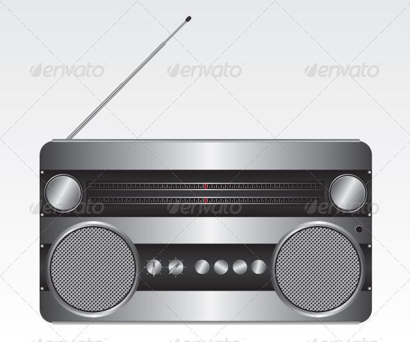 GraphicRiver Retro Silver Radio Illustration 6420510