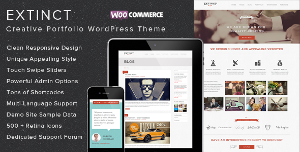 Extinct - Retro Vintage Portfolio WordPress Theme - Portfolio Creative