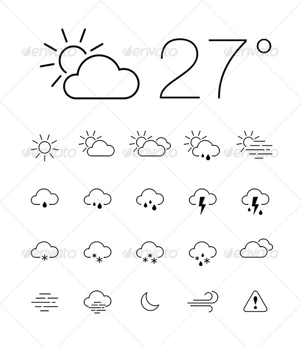 GraphicRiver Thin Weather Icon Set 6420737