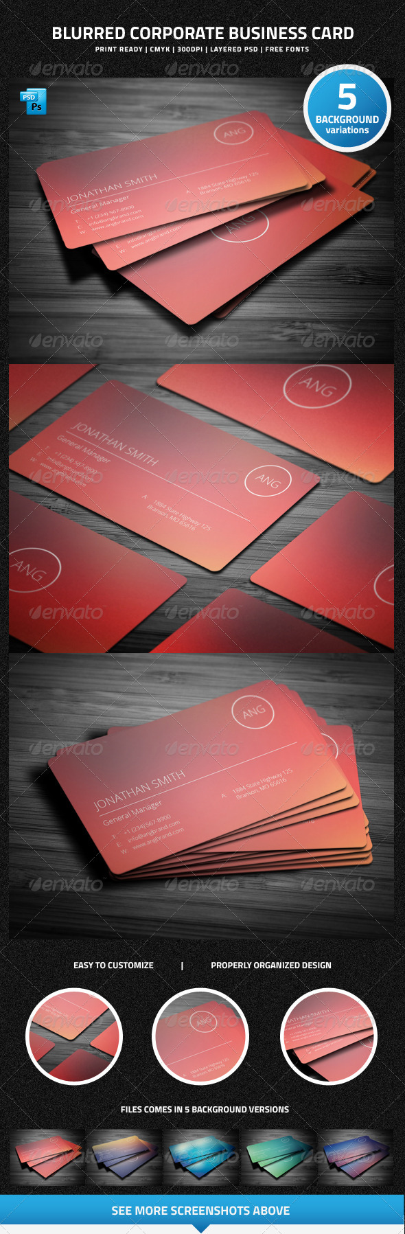 GraphicRiver Blurred Corporate Business Card 6420835