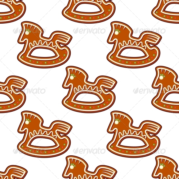 GraphicRiver Gingerbread Brown Horses Seamless Pattern 6420842