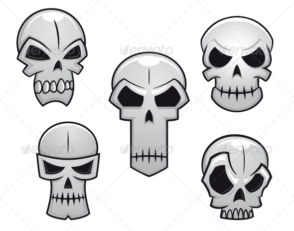 GraphicRiver Cartoon Skulls Set with Danger Emotions 6420883