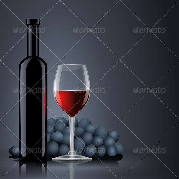 GraphicRiver Bottle Red Wine with a Glass and Grapes 6420884