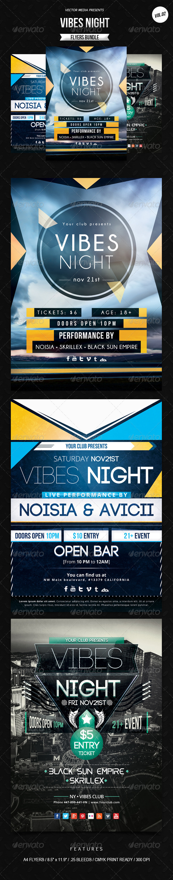 GraphicRiver Vibes Night Flyers Bundle [Vol.2] 6420905