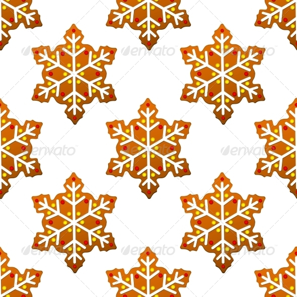 GraphicRiver Gingerbread Snowflakes Seamless Pattern 6420916