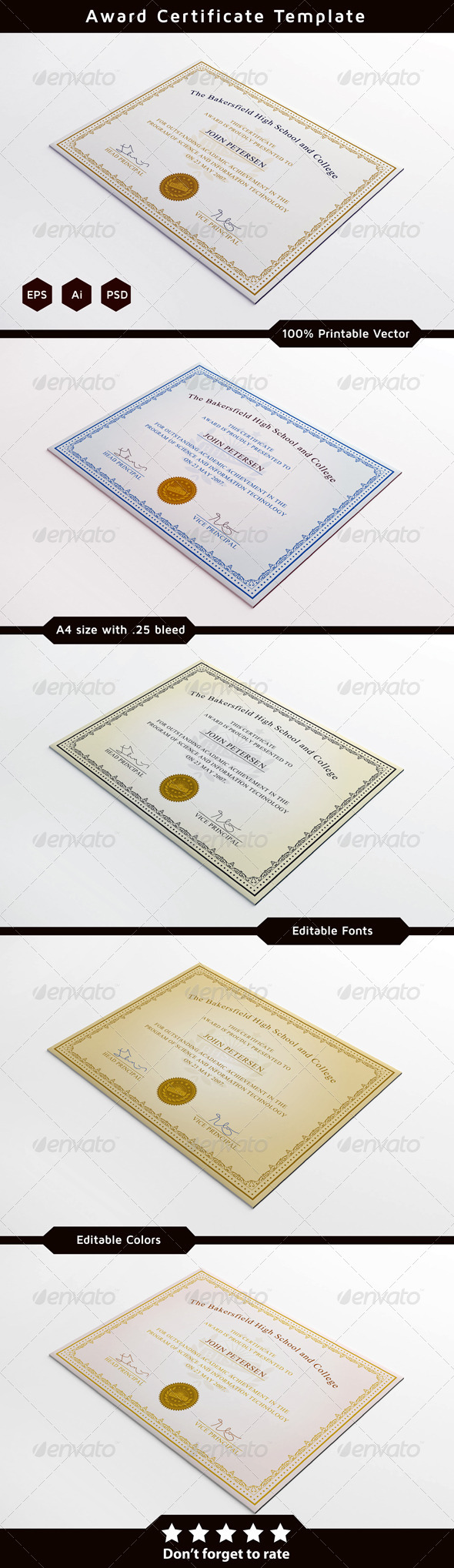 Achievement Certificate Template - Certificates Stationery