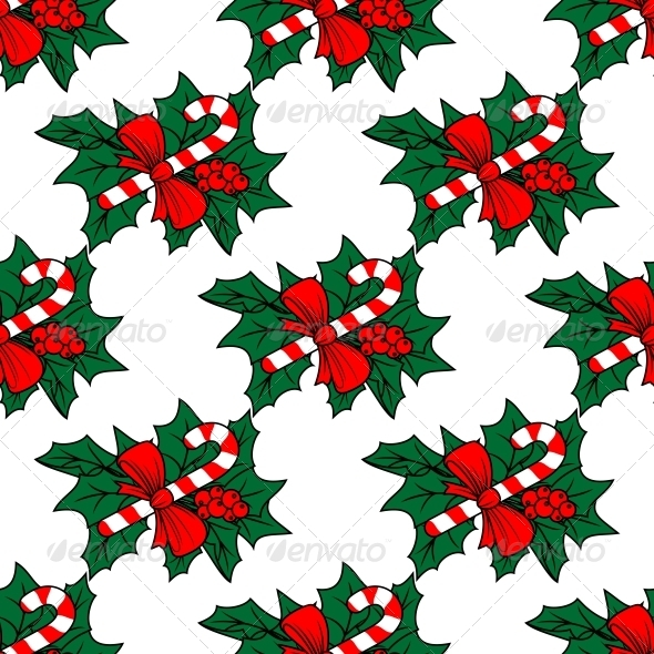 Christmas Seamless Pattern with Candy Sticks