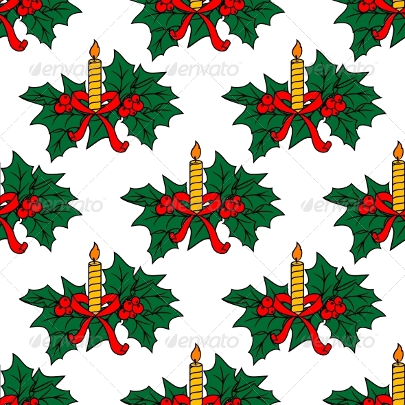 GraphicRiver Christmas Candles Seamless Pattern 6421016