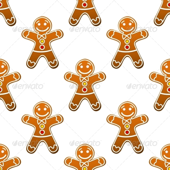 GraphicRiver Gingerbread Man Cookie Seamless Pattern 6421066