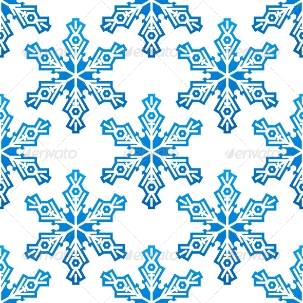 GraphicRiver Seamless Pattern with Blue Snowflakes 6421105