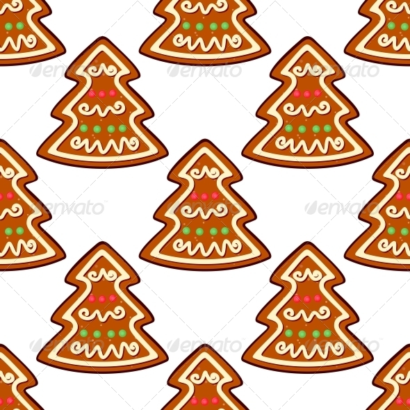 GraphicRiver Gingerbread New Year Tree Seamless Pattern 6421137