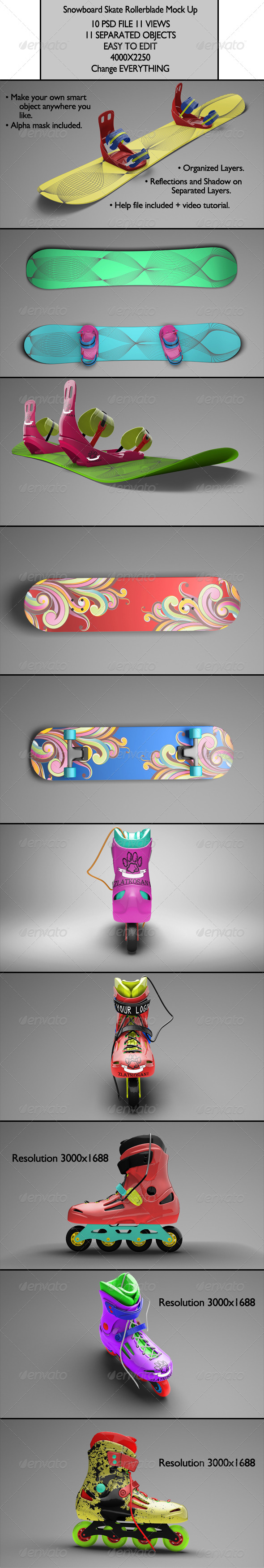 GraphicRiver Snowboard Skate Rollerblade Mock Up 6405307