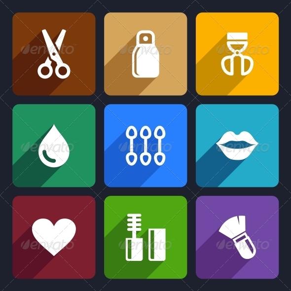 GraphicRiver Cosmetics Perfume Flat Icons Set 32 6422272