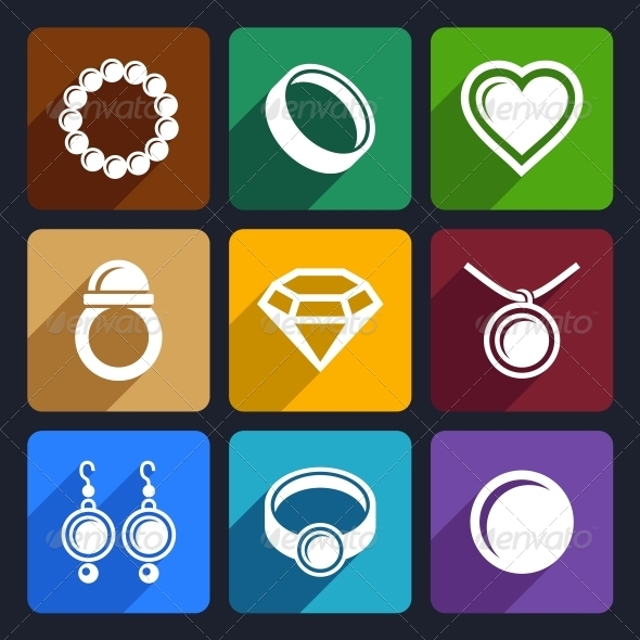 GraphicRiver Jewelry Flat Icons Set 33 6422274