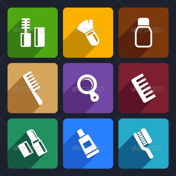 GraphicRiver Cosmetics Perfume Flat Icons Set 31 6422276