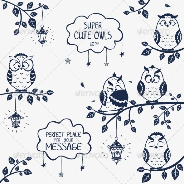 GraphicRiver Owls Funny 6422348