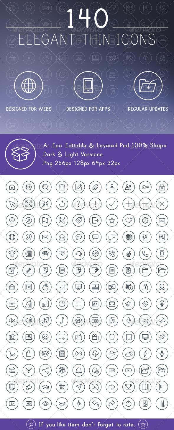 GraphicRiver 140 Elegant Thin Line Icons 6422431