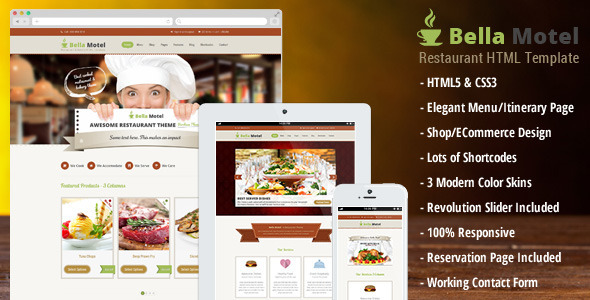 ThemeForest Bella Motel Restaurant & Bakery HTML 6422576