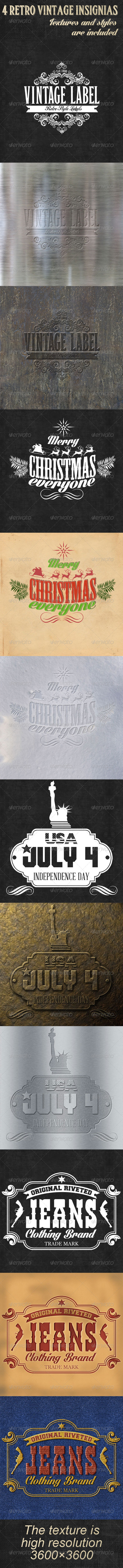 GraphicRiver 4 Retro Vintage Insignias 6422751