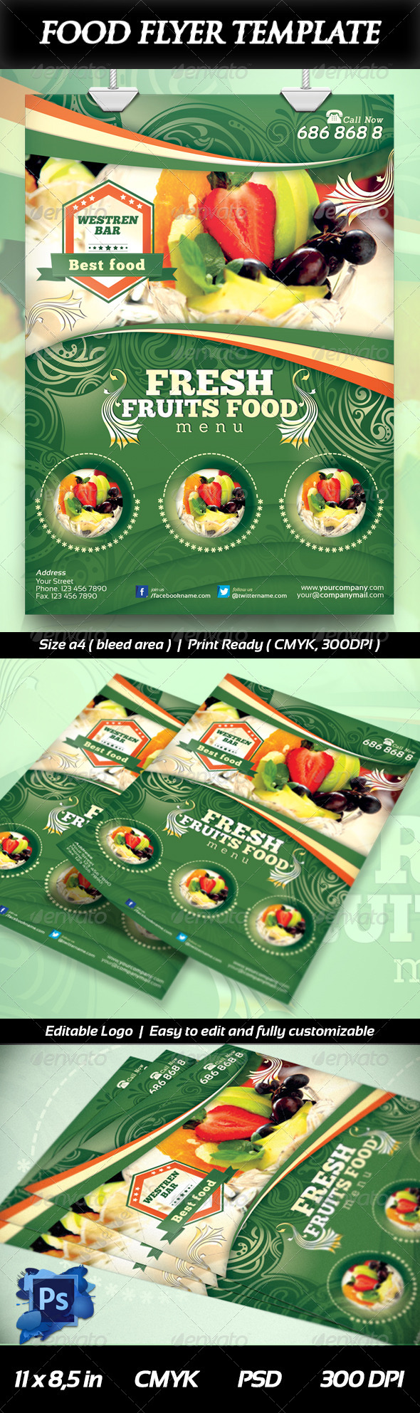 GraphicRiver Fresh Fruits Food Flyer 6423272