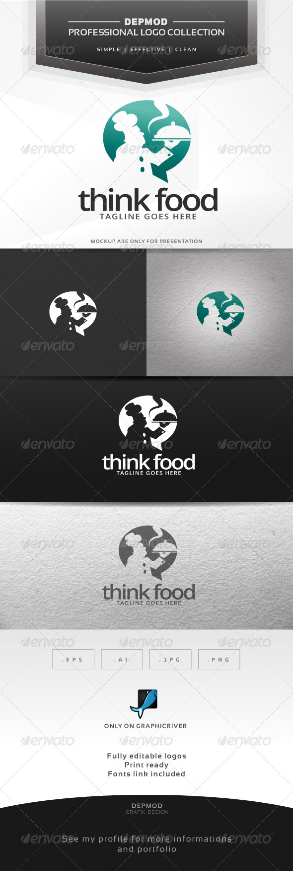 GraphicRiver Think Food Logo 6423433
