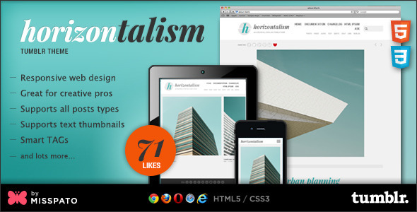 ThemeForest Horizontalism Tumblr Theme 6423628