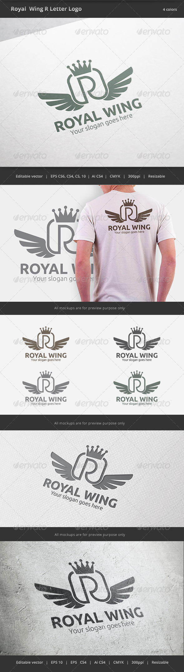 GraphicRiver Royal Wing Letter R Logo 6422239