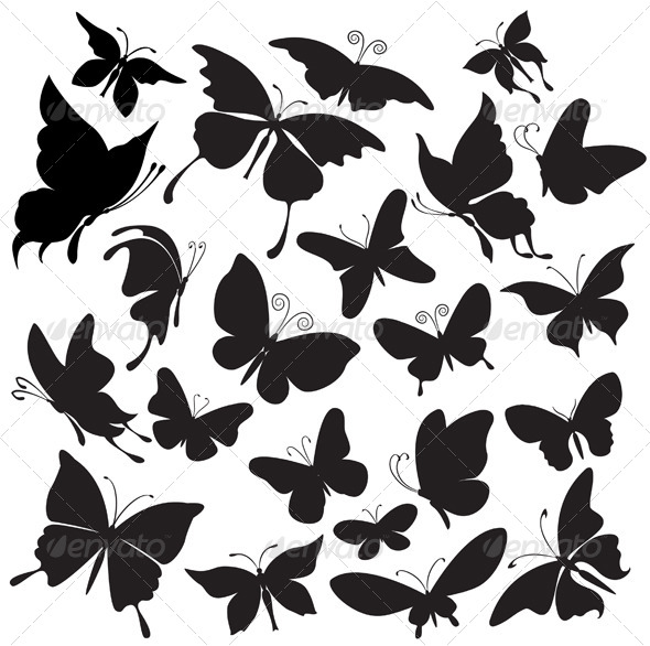 GraphicRiver Set of Butterflies Silhouettes 6424125