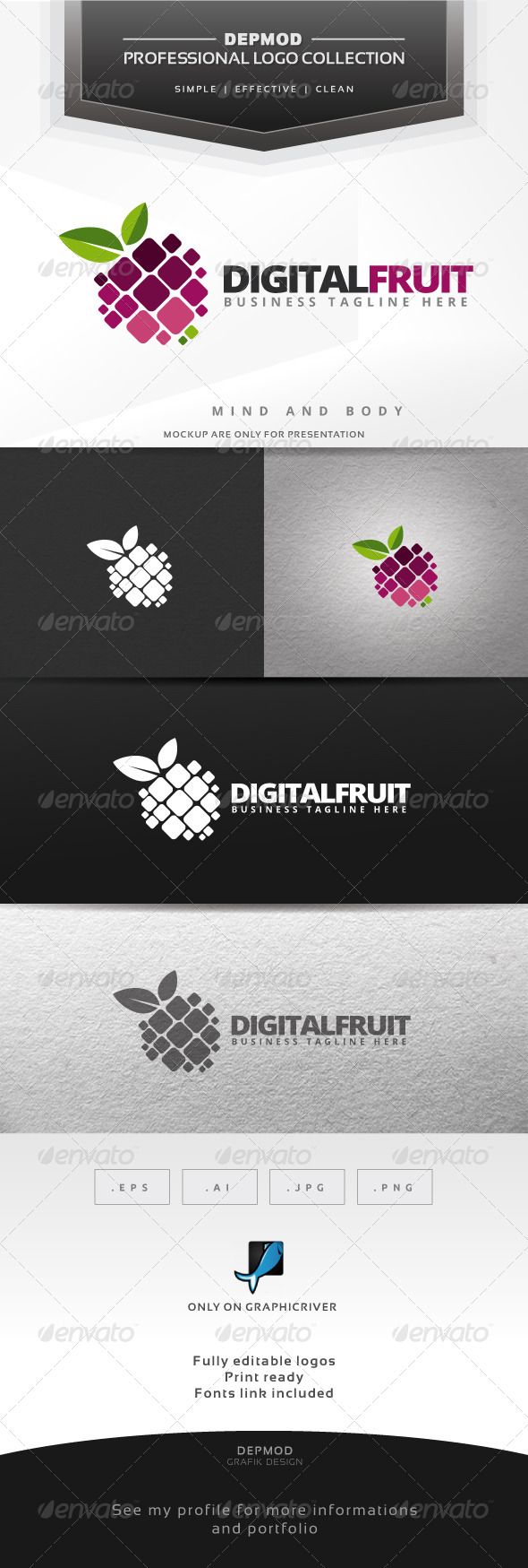 Digital Fruit Logo - Symbols Logo Templates
