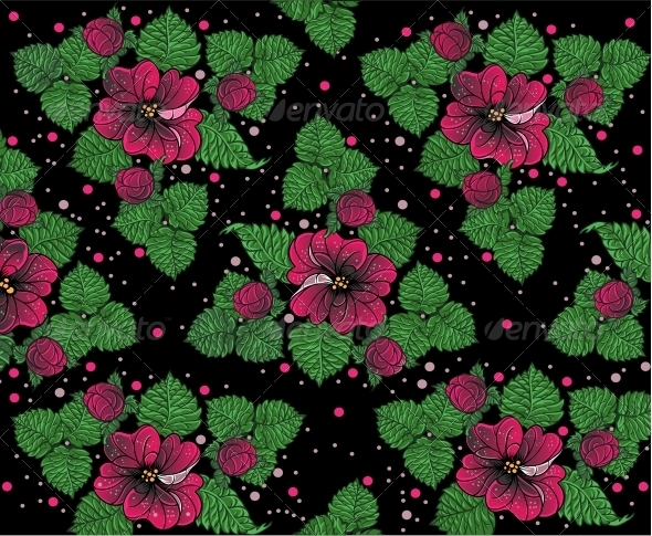 GraphicRiver Background Pattern from Pink Flowers on Black 6424791