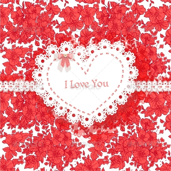 GraphicRiver Valentine Card of Wild Scarlet Flowers 6424801