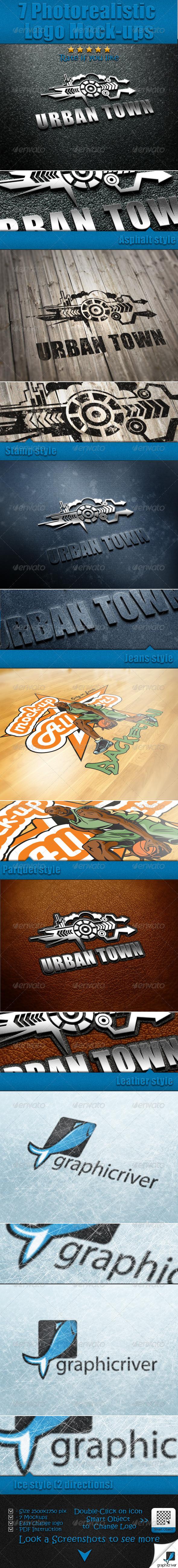 GraphicRiver 7 Photorealistic Logo Mock-Ups 6237030