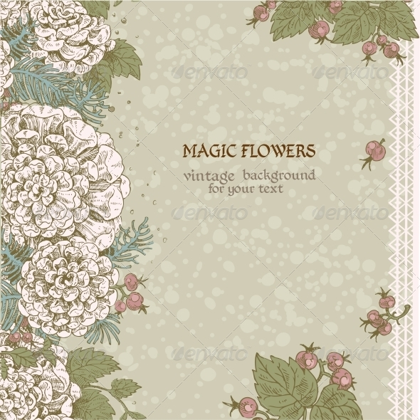 GraphicRiver Vintage Color Background of Stylized Flowers 6424840