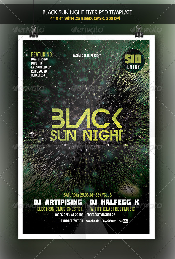 GraphicRiver Black Sun Party Flyer 6425158