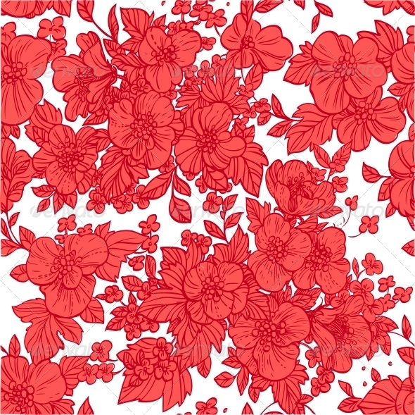 GraphicRiver Seamless Pattern of Wild Scarlet Flowers 6425680