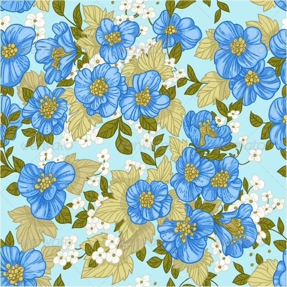 GraphicRiver Seamless Pattern of Blue Wildflowers 6425683